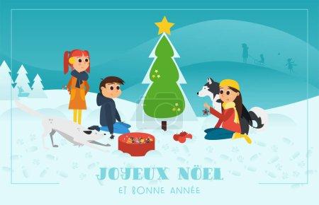 Illustration pour Carte de voeux de Noël avec texte français Joyeux Noel et Bonne Annee, en anglais Joyeux Noël et bonne année. Enfants avec chiens Décorer l'arbre de Noël . - image libre de droit