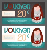 Voucher with young girl petting a dog Designed for pet shops veterinary care pet salon etc