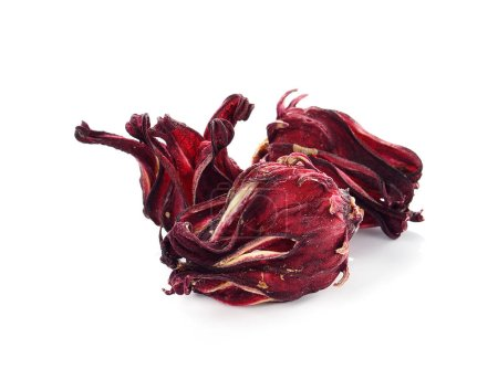 dried hibiscus sabdariffa or roselle fruits on white.