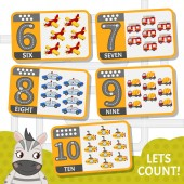 Kids learning material Card for learning numbers Number 6-10 Cartoon transport