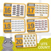 Kids learning material Card for learning numbers Number 16-20 Cartoon transport