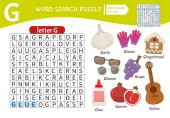 Words puzzle children educational game Learning vocabulary Letter G Cartoon objects on a letter G