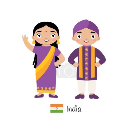 Vector illustration. Boy and girl in traditional I...