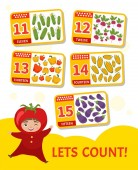 Kids learning material Card for learning numbers Number 11-15 Cartoon vegetables Illustration of cute baby in tomato costume