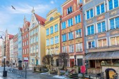 Colourful facades in Long Market in Gdansk, Poland.
