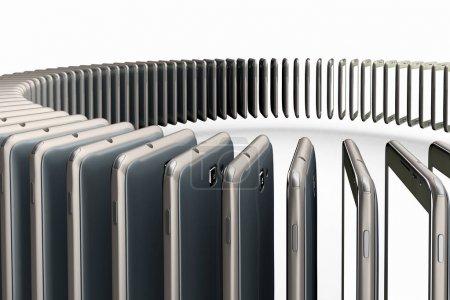 Photo pour 3D rendering of a conceptual image of mass production of cell phones - image libre de droit