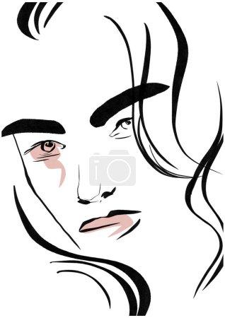 Glamour moda belleza mujer cara ilustración. Retrato lineal minimalista mujer glamour en estilo acuarela. Hermosa chica joven modelo blanco y negro dibujo boceto .