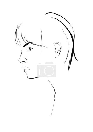 Photo for Glamour fashion beauty woman face illustration. Linear minimal portrait glamour woman in watercolor style. Beautiful young girl model black and white drawing sketch. - Royalty Free Image