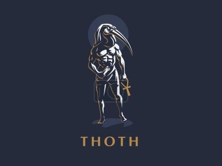 The Egyptian God Thoth. Logo. Vector illustration....