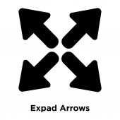 Expad Arrows icon vector isolated on white background logo concept of Expad Arrows sign on transparent background filled black symbol