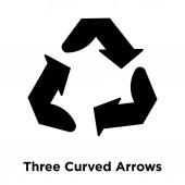 Three Curved Arrows icon vector isolated on white background logo concept of Three Curved Arrows sign on transparent background filled black symbol