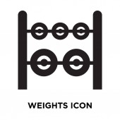 Weights icon vector isolated on white background, logo concept of Weights sign on transparent background, filled black symbol