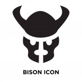 Bison icon vector isolated on white background logo concept of Bison sign on transparent background filled black symbol