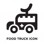 Food truck icon vector isolated on white background logo concept of Food truck sign on transparent background filled black symbol