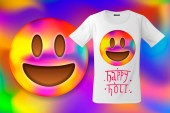 Happy Holi colorful smiley emoticon emoji face T-shirt design modern print use for sweatshirts souvenirs and other uses vector illustration