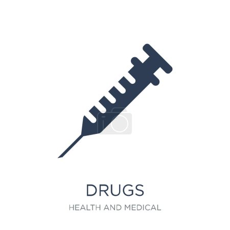 Illustration for Drugs icon. Trendy flat vector Drugs icon on white background from Health and Medical collection, vector illustration can be use for web and mobile, eps10 - Royalty Free Image