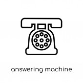 answering machine icon Trendy modern flat linear vector answering machine icon on white background from thin line Electronic devices collection outline vector illustration