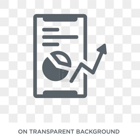 Mobile stock data icon. Trendy flat vector Mobile stock data icon on transparent background from Business and analytics collection. High quality filled Mobile stock data symbol use for web and mobile