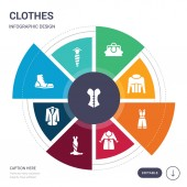 set of 9 simple clothes vector icons contains such as corset cravat danica shoes dinner jacket dress dressing gown dungarees icons and others editable infographics design