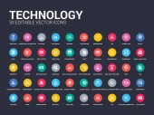 50 technology set icons such as a/b testing affiliate marketing api application attributes back end big data bounce rate bugs simple modern isolated vector icons can be use for web mobile