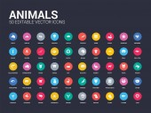 50 animals set icons such as lion lizard llama macaw monkey moose mosquito mouse octopus simple modern isolated vector icons can be use for web mobile