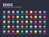 50 dogs set icons such as afghan hound dog akita dog alaskan klee kai dog american eskimo american hairless terrier american leopard hound water spaniel anatolian shepherd austrailian shepard