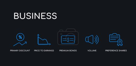 5 outline stroke blue preference shares, volume, premium bonds, price to earnings ratio (pe ratio), primary discount rate icons from business collection on black background. line editable linear
