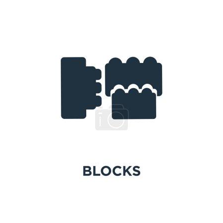 Blocks icon. Black filled vector illustration. Blo...