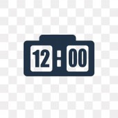 Clock at Twelve O'Clock vector icon isolated on transparent background Clock at Twelve O'Clock transparency concept can be used web and mobile