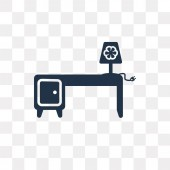 Desk vector icon isolated on transparent background Desk transparency concept can be used web and mobile