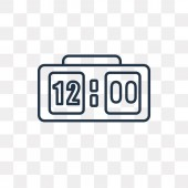 Clock at Twelve O'Clock vector outline icon isolated on transparent background high quality linear Clock at Twelve O'Clock transparency concept can be used web and mobile