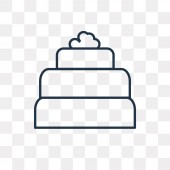 Three Levels Cake vector outline icon isolated on transparent background high quality linear Three Levels Cake transparency concept can be used web and mobile