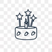 Cake with Three Candles vector outline icon isolated on transparent background high quality linear Cake with Three Candles transparency concept can be used web and mobile
