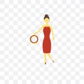 Girl playing Tambourine vector icon isolated on transparent back