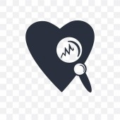 Medical heart scan vector icon isolated on transparent backgroun
