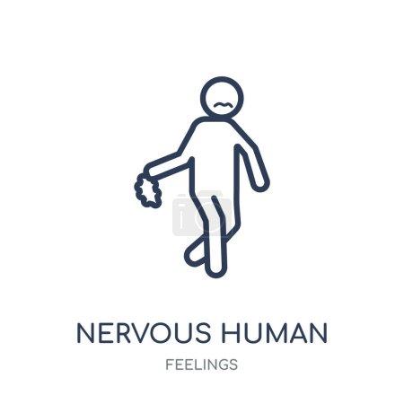 Nervous human icon. nervous human linear symbol de...
