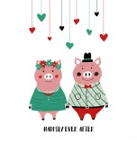 A couple of smartly dressed holding hands pigs Love greeting card with phrase: happily ever after