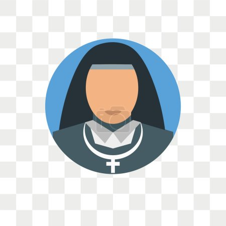 Nun vector icon isolated on transparent background, Nun logo concept