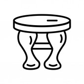 Stool icon vector isolated on white background Stool transparent sign  linear and stroke elements in outline style