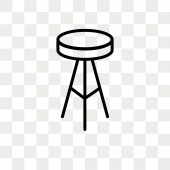 Stool vector icon isolated on transparent background Stool logo design