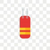 Punching bag vector icon isolated on transparent background Pun