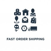 fast order shipping icon send parcel pallet with boxes truck load logistics service concept symbol design collect package warehouse and distribution supply chain cargo insurance vector illustration