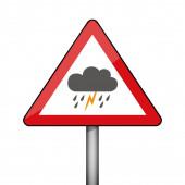 triangular warning sign thunderstorm weather