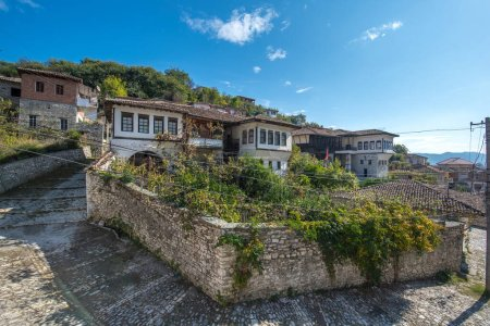 Photo for Historic city. Traditional ottoman houses in Berat old town (mangalem district) in Albania . listed as UNESCO world heritage site, along with river Osum bank. thousand windows city - Royalty Free Image