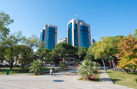 Photo for TIRANA, ALBANIA - October 19, 2018: Complex of buildings Tirana Twin Towers on Boulevard of Martyrs (Bulevardi Deshmoret e Kombit). Fibank ( first investment bank ) and societe generale building - Royalty Free Image