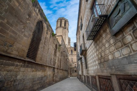 Photo for Barcelona, Spain - 15.06.19:  Random street at the Gothic quarter - main landmarks area in Barcelona, significant with its architecture and art atmosphere. Tourist top destination area in the city. - Royalty Free Image