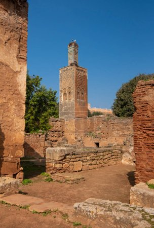 Photo for Minaret of the mosque in Chellah or Sala Colonia is a medieval fortified necropolis located in Rabat, Morocco. Rabat is the capital of Morocco , Africa. Park full of old ruins and history forum - Royalty Free Image