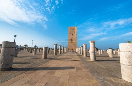Photo for The Mausoleum of Mohammed V is a historical building located on the opposite side of the Hassan Tower on the Yacoub al-Mansour esplanade in the capital city of Rabat, Morocco. - Royalty Free Image