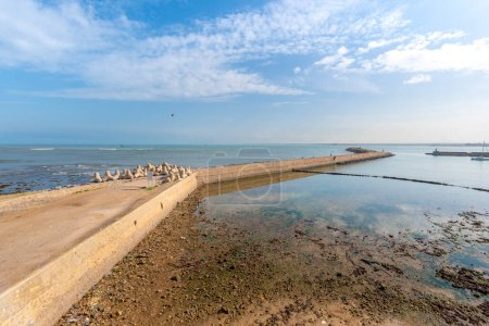 Photo for Panoramic view of the port to Mazagan in El Jadida , Morocco. The City Wall around  it. It is a Portuguese Fortified Port City registered as a UNESCO World Heritage Site. Panorama to harbor and ocean - Royalty Free Image