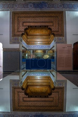 Photo for Marrakech, Morocco - 18 july, 2019: Inside interior of Dar Si Said - Museum of Moroccan Arts, Crafts, Carpets and Weaving in Marrakesh medina. The National Carpet Museum zellige tile work - Royalty Free Image